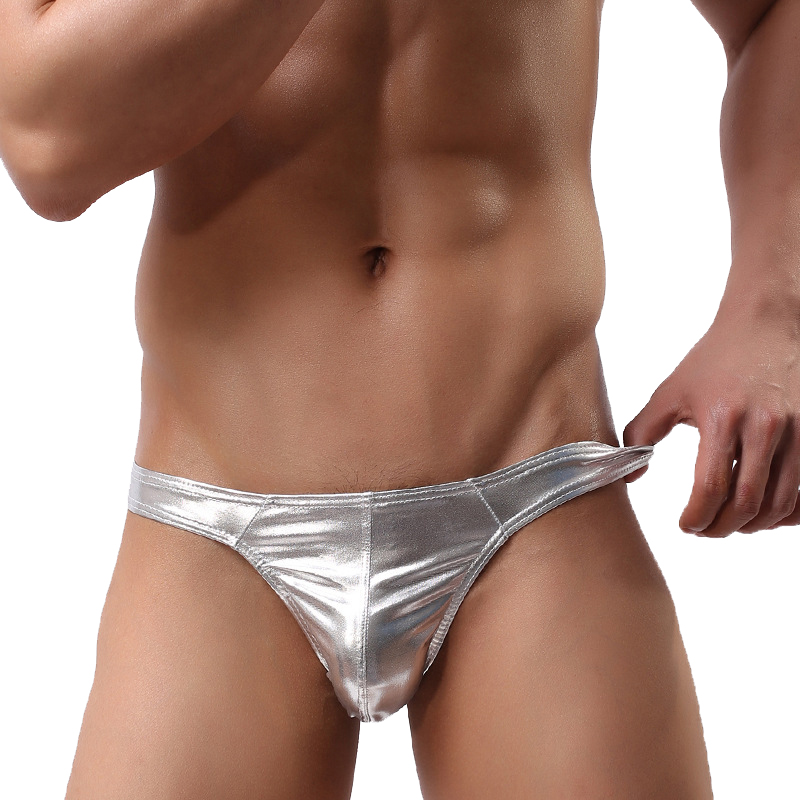 Sexy Lingerie Thong T-Back Men G String Underwear Briefs Breathable Underpants Bikini Tanga Hombre Pouch Golden Silver Panties