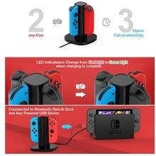 Cargador para Nintendo Switch Joy Con, Estación De Carga Con indicador LED para Nintendo switch