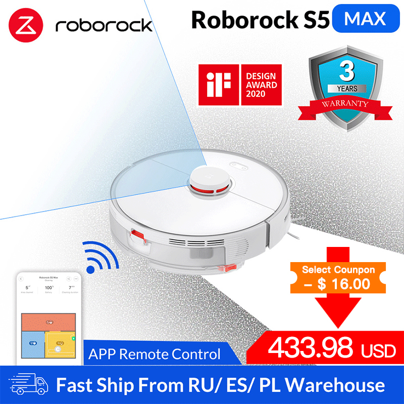 Roborock S5 Max Robot Vacuum Cleaner Smart Sweeping Cleaning Electric Mop Upgrade of S50 S55 Home Carpet Dust Robotic Collector|Vacuum Cleaners|   - AliExpress