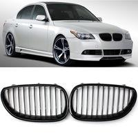 New Kidney Grilles Matte Black for BMW E60 E61 520d 520i 523li 525li 530li Framed Dual Slat Grill Front Kidney Grille Bumper 2Pc