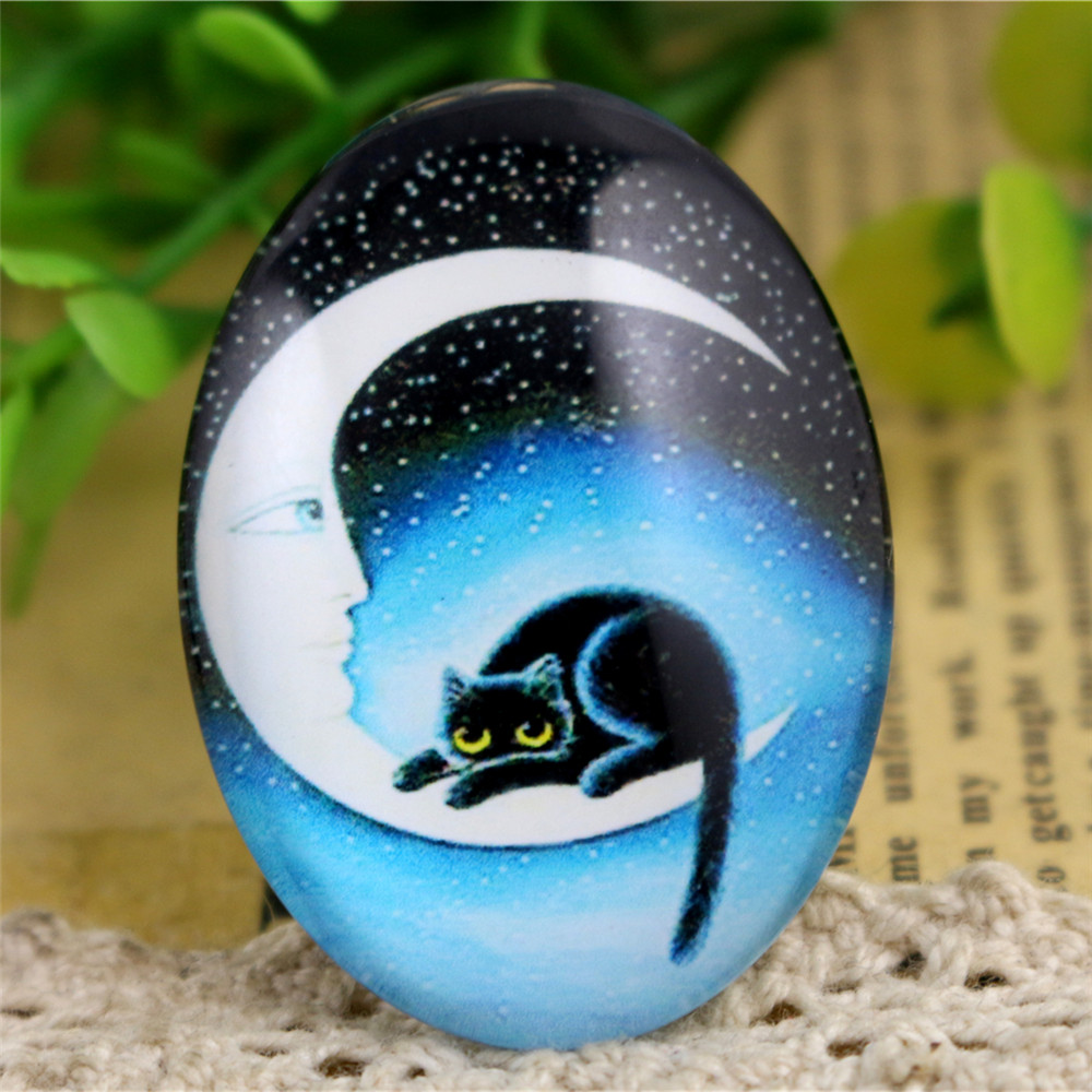 2pcs 30x40mm New Fashion Cat Moon Handmade Photo Glass Cabochons Pattern Domed Jewelry Accessories Supplies-I3-27