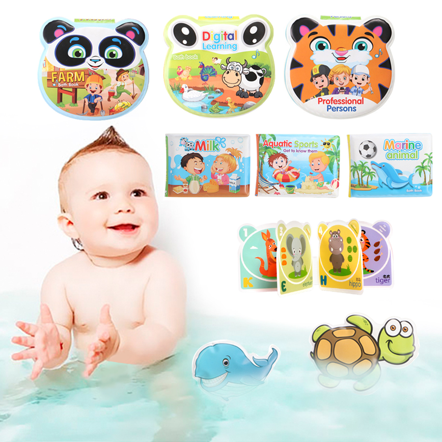 Baby Toys Bath Books With BB Whistle Bathroom Waterproof Toy Water Bath Book For Baby Early Educational Swimming Bathing Toy