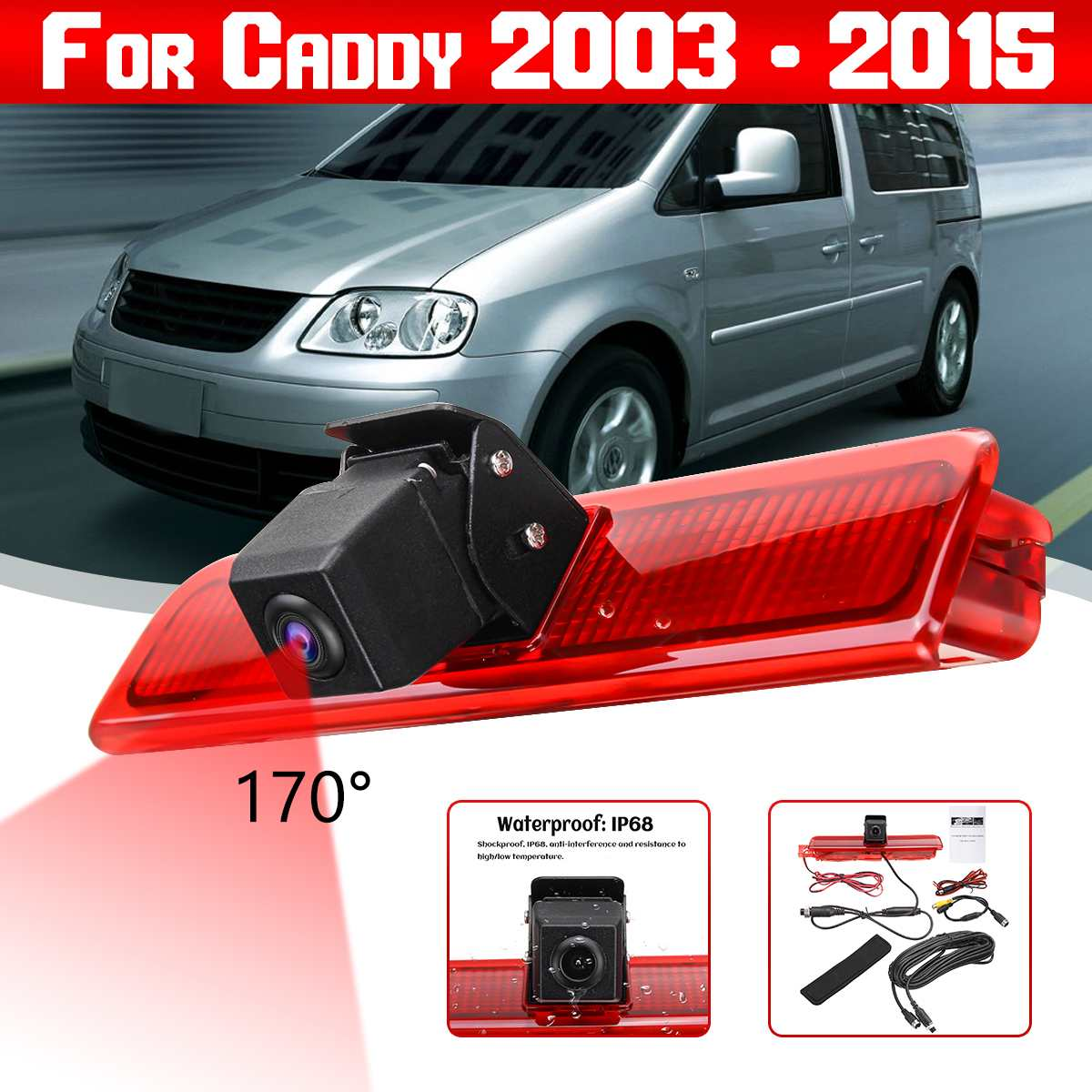Car Rear View Camera Reverse Parking Backup 3rd Brake Light Night Vision Waterproof Monitor For VW Caddy 2003 - 2015
