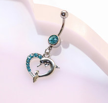 Trendy Dolphins Navel Piercing medical steel Jewelry Belly Button Ring Fake Piercing Free shipping