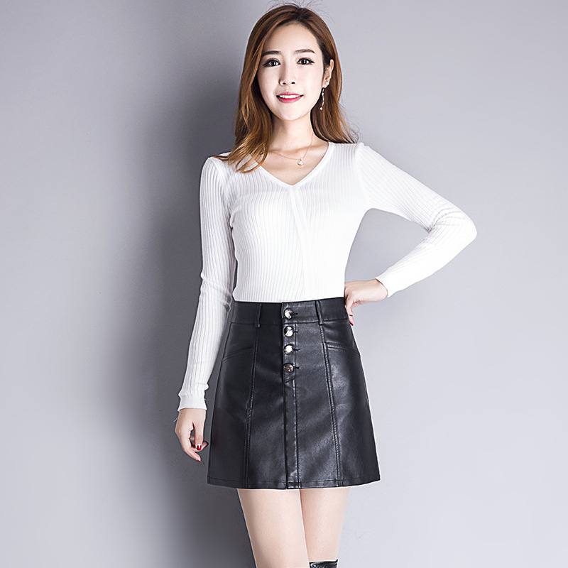 High-waisted Slimming Versatile Fashion Short Skirt 2018 Autumn & Winter New Style Korean-style Leather Skirt Simple Casual Eleg
