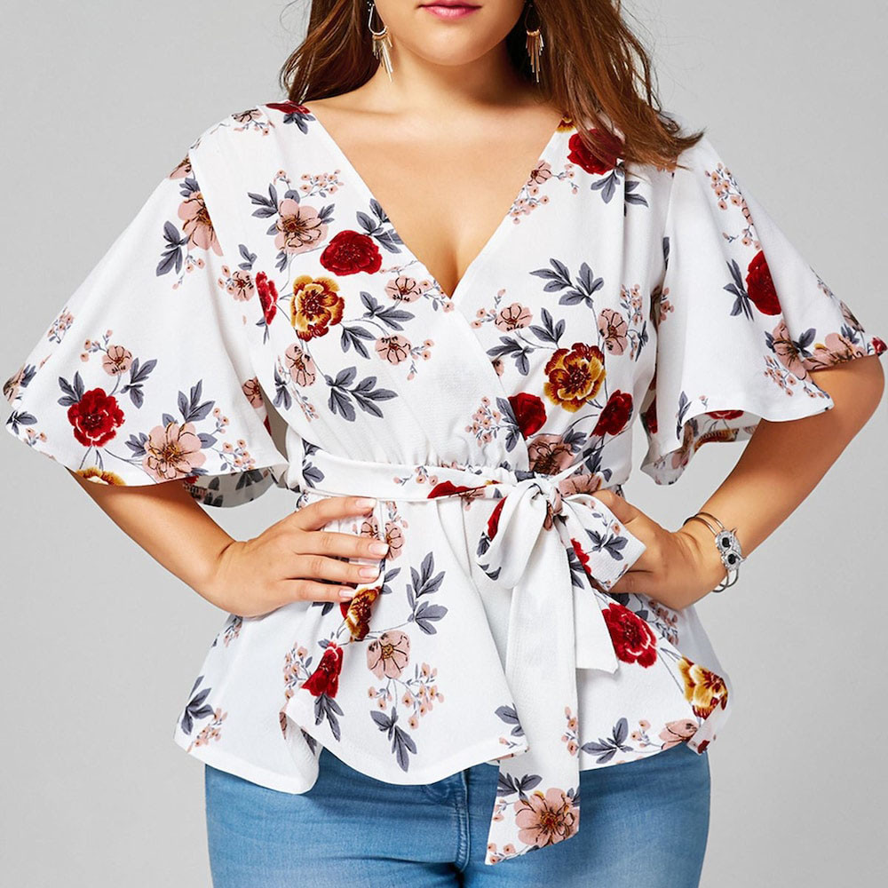 5XL Bloue Women Fashion Female Floral Print Plus Size Clothes Casual Belted Surplice Peplum Blouse V-Neck Tunic Tops blusas(China)