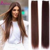 20 24 28 synthetische Haarteile Gerade Haar Verlängerung Clip-in Haar Extensions Highlight Haar Hohe Temperatur faser