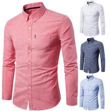 Men Clothing Shirt Long-Sleeve Pocket Slim-Button Solid Work-Top Turn-Down-Collar Turn-Down-Collar