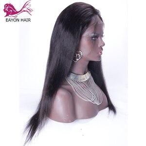 Image 2 - EAYON Peluca de cabello humano con encaje completo prearrancado, pelo de bebé liso sedoso, pelucas de cabello Remy peruano, nudos blanqueados, densidad del 130