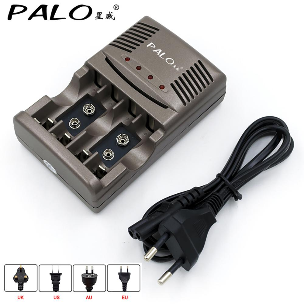 PALO 100percent Original aa aaa 2a 3a 9V Battery Charger Electric Charging for 1 2V AA AAA 9v 6F22 Ni-MH rechargeable batteries
