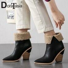 цена на DORATASIA New Big Size 34-43 Brand Ladies High Chunky Heels Pointed Toe Shoes Woman Autumn Winter Luxury Ankle Boots Women