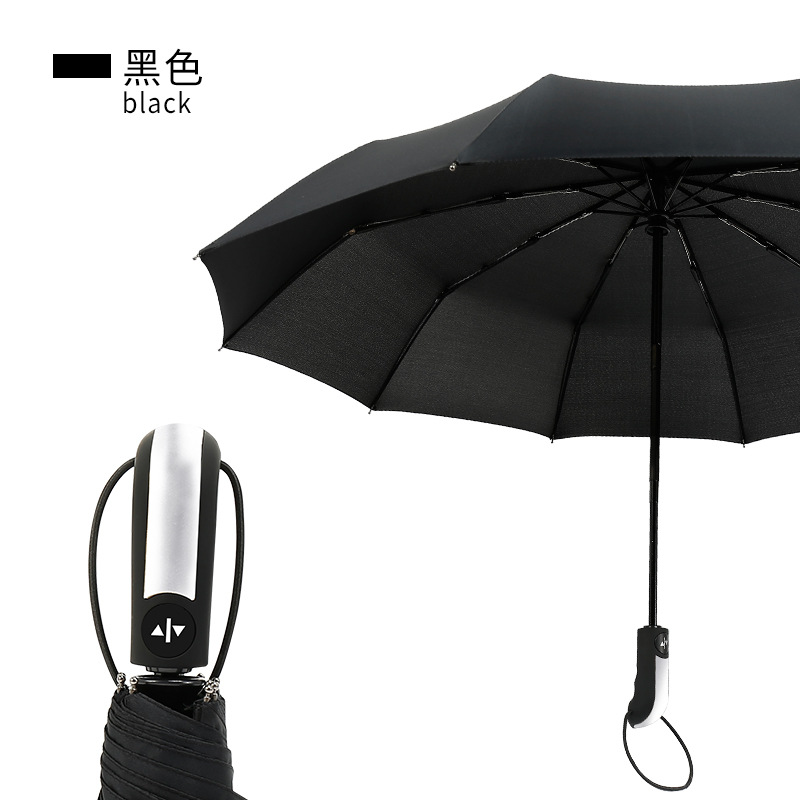 Umbrella Customizable Logo Creative Fully Automatic Folding Umbrella Rain Or Shine Three Fold Wind-Resistant Parasol Car Fully A