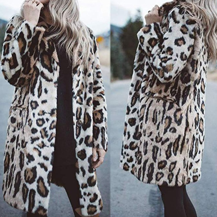 Thicken Leopard Jacket Fashion Women Slim Casual Luipaard Fur Jacket Female Harajuku Women Mid-Long Winter Faux Fur Coat 2019