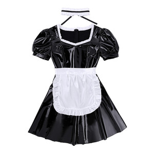 Image 4 - 3Pcs Women Adults French Maid Cosplay Costume Outfit Square Neck Puff Sleeve A line Patent Leather Dress with Apron and Headband