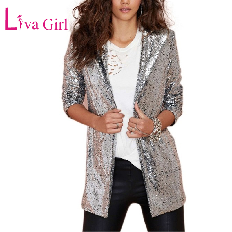 LIVA GIRL Casual Sparkly Sequin Women Blazer And Jackets Spring Autumn Open Front Coat Female Long Sleeve Sequin Jacket Suit XXL