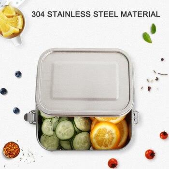 Lonchera de acero inoxidable 3/2/1 compartimiento de metal Bento lonchera contenedor KSI999