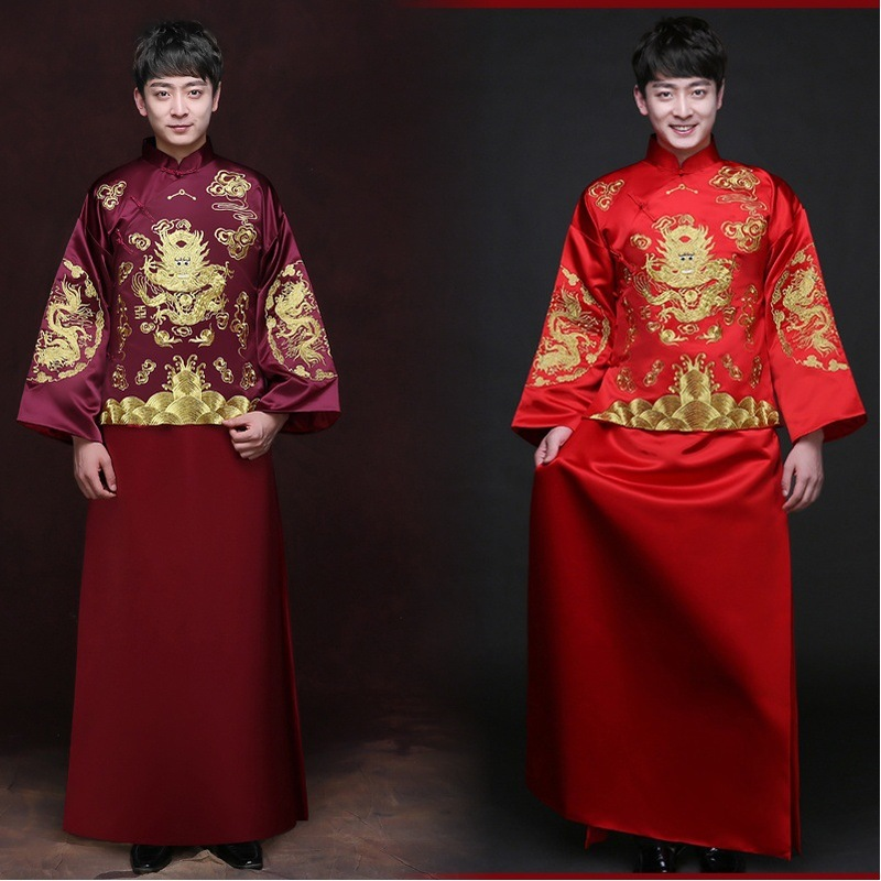 2020 Mao Suit Groom Tuxedo Xiuhe Suit Men's Chinese Male Money Groom Toast Wedding Dress Robes Tang Jacket Tunic Show Kimono