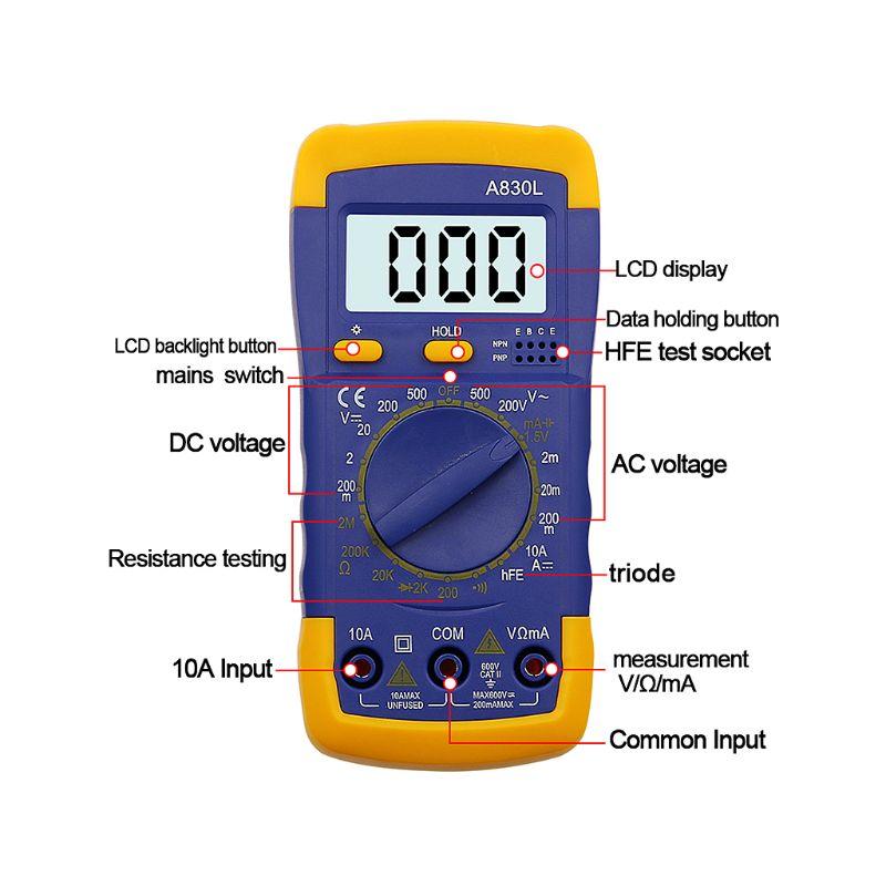 A830L LCD Digital Multimeter AC DC Voltmeter Ammeter Diode Volt Current Tester