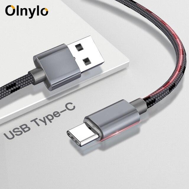 Olnylo USB Typ C Kabel Schnelle Lade Typ C USB Kabel Für Samsung S10 S9 S8 xiaomi mi a2 redmi note 7 USB C Handy Kabel