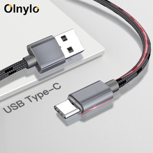 Olnylo USB Type C Fast Charging Type C สาย USB สำหรับ Samsung S10 S9 S8 xiaomi mi a2 redmi note 7 USB C สายโทรศัพท์มือถือ