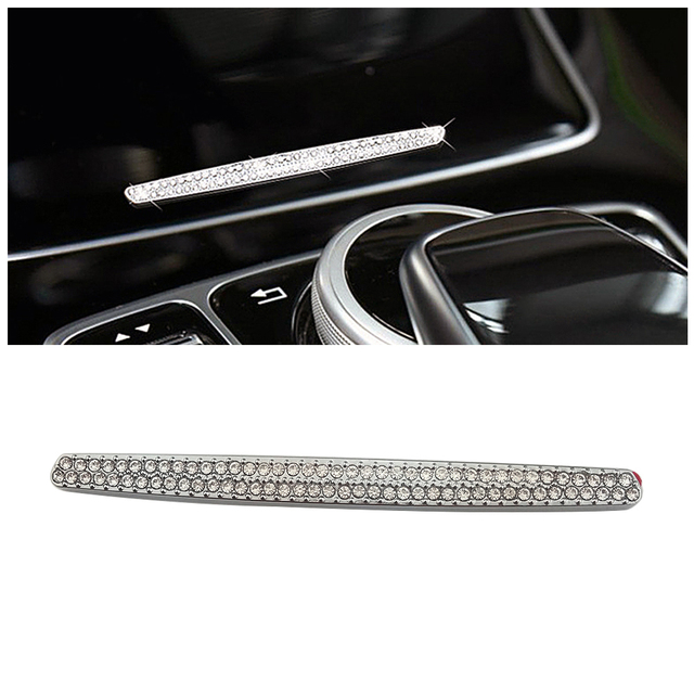 For Mercedes Benz C Class W205 2015 2019 Central Console Water Cup Holder Cover Button Switch Trim Crystal Diamond Decal