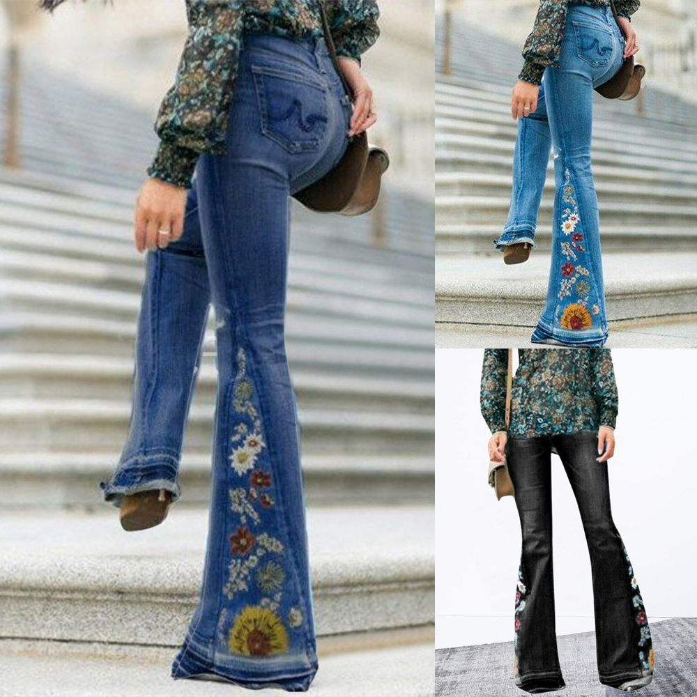 Fashion High Waist Flare Jeans Women Fashion Office Long Pants Bell Bottom Denim Pants Femme Printed Wide Leg Jeans Trousers