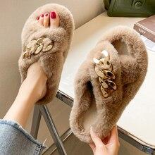 Pantoufles d'intérieur plates en fausse fourrure pour femmes, chaussures en coton pour la maison, en peluche courte et chaude, de couleur unie, collection hiver 2021