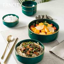 FANCITY stylowe miski zestaw naczyń domowa ceramika miski z makaronem miski na ryż tanie tanio CN (pochodzenie) Stałe ceramic ROUND