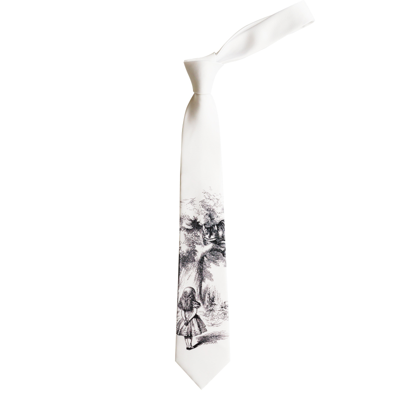 Free shipping New male men's female Original design necktie Sketch hand drawn alice in wonderland fairy tale cat white tie
