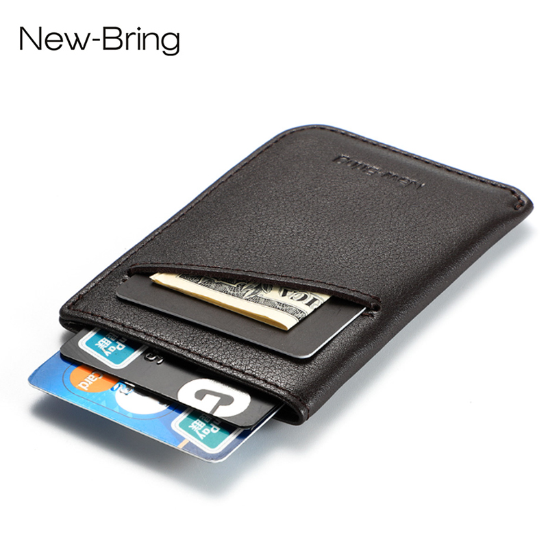 NewBring Small Genuine Leather Clutch Wallet Men Credit Card & ID Holders Fame Compact Mini Purse Cash Women Card Holder Sleeve