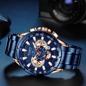 Image 3 - Curren marca de luxo relógio masculino azul quartzo relógio de pulso esportes cronógrafo relógio masculino banda aço inoxidável moda negócios