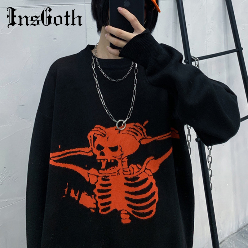 InsGoth Harajuku Loose Sweater Women Gothic Punk Skull Pattern Oversized Sweater Jumper Full Sleeve Female Streetwear Sweaters