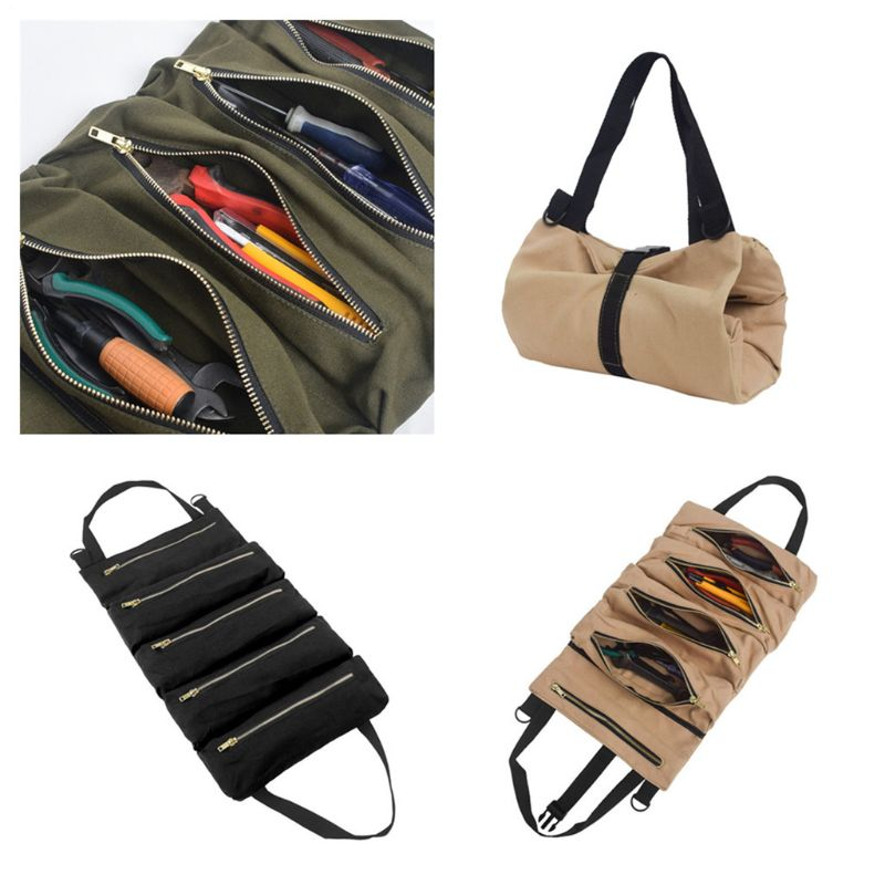 Canvas Tool Roll Wrench Pouch Vehicle Tool Bag Hanging Tool Zipper Carrier Tote