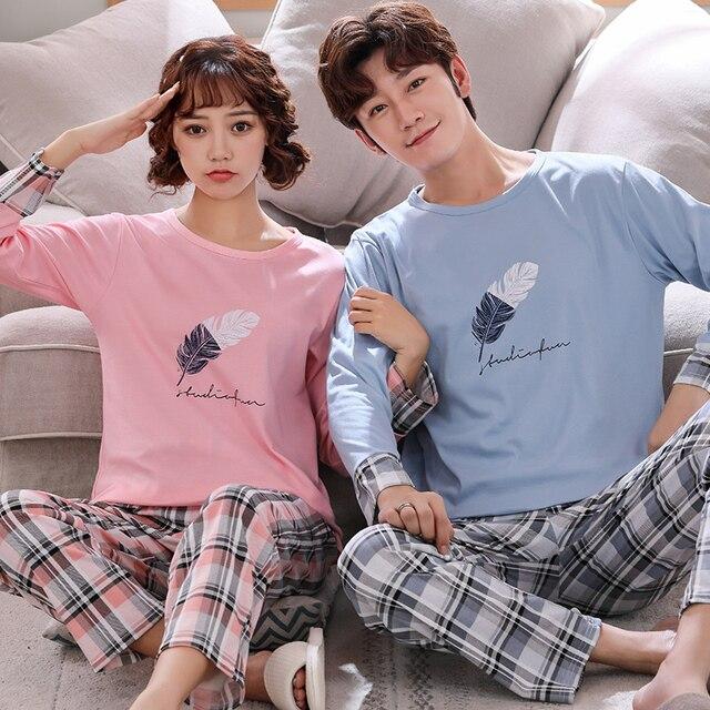 Новинка, весенне осенняя Пижама для пары, Женская Хлопковая пижама с длинным рукавом, милая мультяшная Пижама для мужчин и женщин