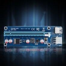Novo 006c pcie 1x para 16x express riser cartão gráfico pci-e riser extensor 60cm usb 3.0 cabo sata para 6pin power para mineração btc
