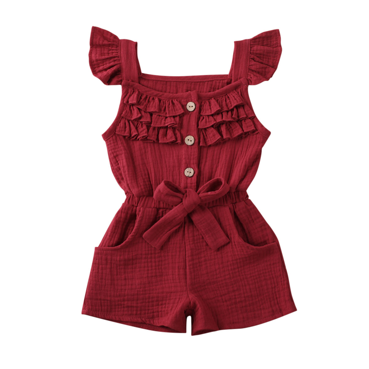 2020 Summer Toddler Infant Baby Girl Romper Sleeveless Ruffle Solid Pure Colors Buttons Sleeveless Jumpsuit Playsuit Cute