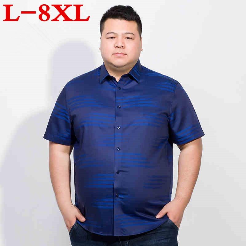 Plus Size 8XL 7XL 6XL  Brand Formal Dress Shirts New Fashion High Quality Cotton Short Sleeve Casual Shirt Men Loose Fit Design