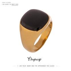 Yhpup haute qualité noir émail anneau Pour femmes en acier inoxydable Bagues Pour Femme en métal Texture anneau bijoux cadeau d'été 2020