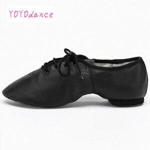 Image 5 - Женские туфли оксфорды из свиной кожи, черные, коричневые танцевальные туфли со шнуровкой для детей и взрослых, танцевальная обувь для джаза
