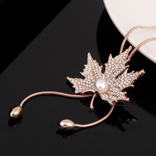 96 cm sweater chain , for women,  maple leaf necklace, fashion temperament autumn winter jewelry