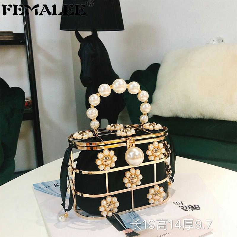 Sac à main de luxe pour femmes sac de soirée d'embrayage de créateur de mode perle diamants Top poignée sac fourre-tout Cage en métal creux sacs de fête