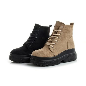 Fashion Female Patchwork Boots of Cow Leather and Kid