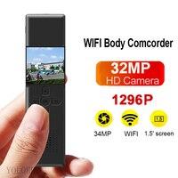 1296P/1080P 34MP Camera Recorder 2000MAH 1.5inch WIFI AP Mini Comcorder Night Vison Wide Angle Police Security Guard Micro DV