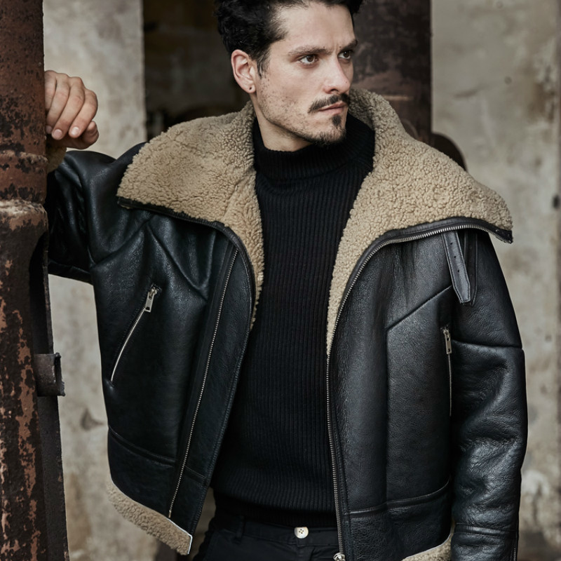 Winter Sheep Shearling Fur Coat Korean Vintage Real Leather Jacket Men Jaqueta Couro 226 YY482