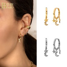 Boako 925 prata esterlina luz de luxo ins estilo earings personalidade cruz estrela lua zircão brincos para mulher s925 jóias