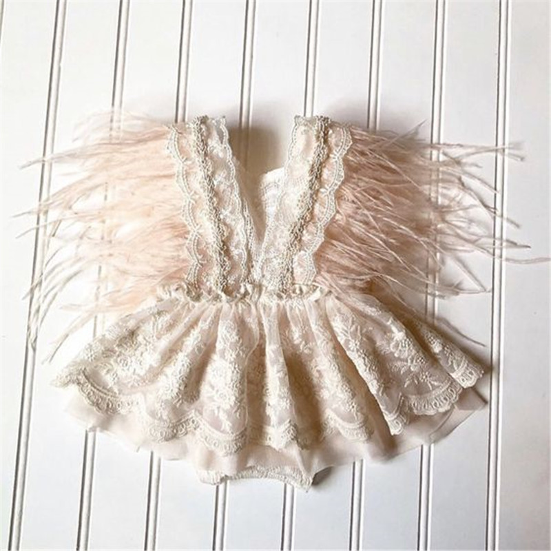 Pelele de princesa con bordado de encaje para niñas, vestido de plumas de bebé dulce, manga con volantes, Mono Blanco con Espalda descubierta, Pelele de verano