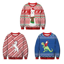 Kaguser 2019 New fashion Christmas Womens Men Clothing Kpop Hoodies llama Unicorn Dinosaur Santa Claus fun Cartoon sweatshirt