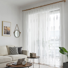 European Style Embroidered Tulle Curtains for Living Room Bedroom Tree Plants White Sheer Window 1 Piece