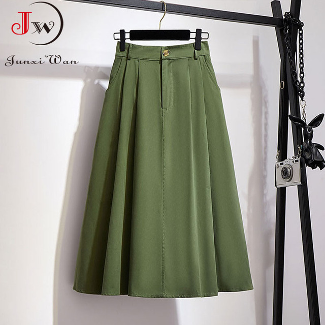 Women Cotton Skirt 2021 Spring Summer Preppy Style Solid Casual Elegant Pocket Elastic High Waist A-Line Midi Skirts Faldas 4