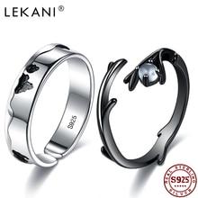 Ring Moonstone Jewelry Wedding-Rings Adjustable LEKANI 925-Sterling-Silver Lovers'